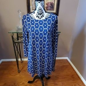 Fantastic Fawn cobalt blue and grey tunic dress S